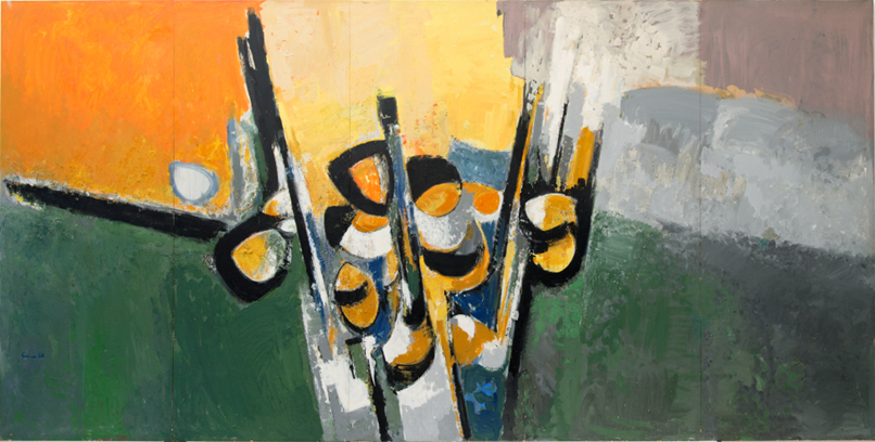 Artrust_Carl_walter_liner_composition_orange_yellow_grey_green