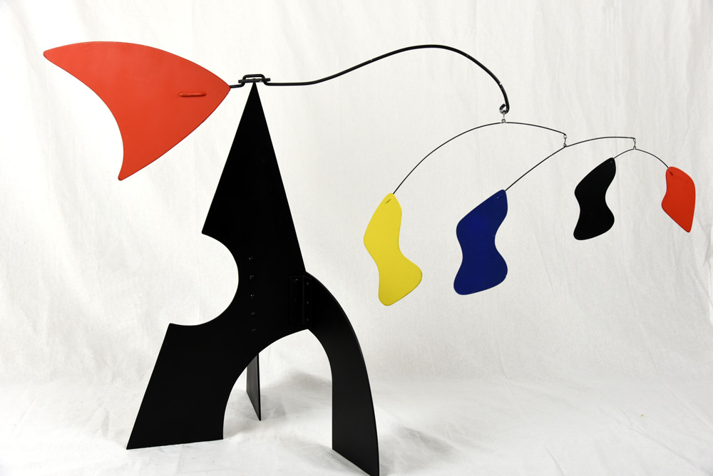 Standing mobile in black, red, blue and yellow