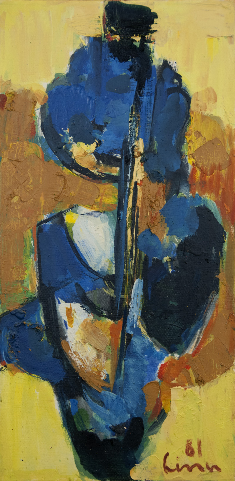 Composition ocher-blue-black